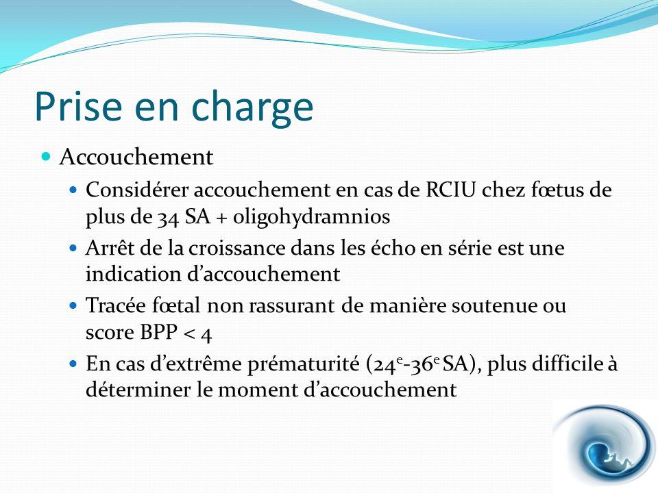 Prise en charge Accouchement Considérer accouchement en cas de RCIU chez fœtus de plus de 34 SA + oligohydramnios Arrêt de la croissance dans les écho
