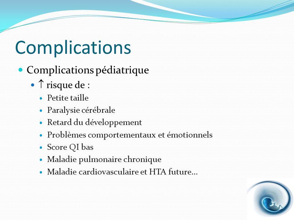 Complications Complications pédiatrique risque de : Petite taille Paralysie cérébrale Retard du développement Problèmes comportementaux et émotionnels