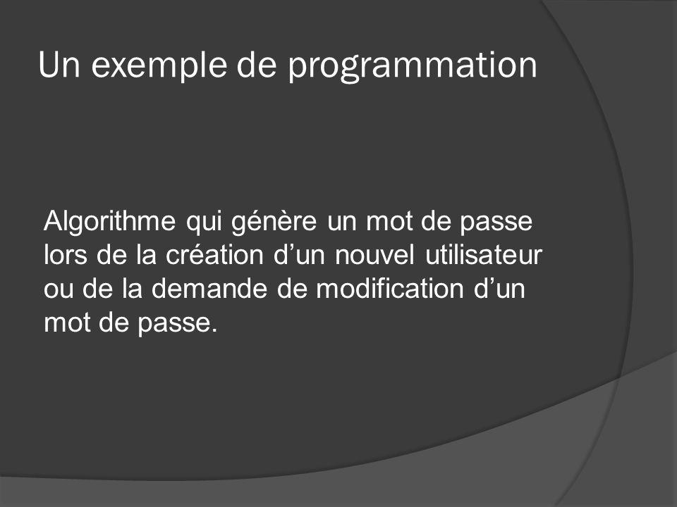 Un exemple de programmation Algorithme qui génère un mot de passe lors de la création dun nouvel utilisateur ou de la demande de modification dun mot de passe.