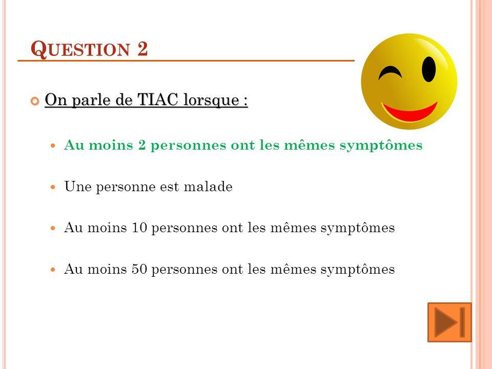 Q UESTION 2 On parle de TIAC lorsque : On parle de TIAC lorsque : Au moins 2 personnes ont les mêmes symptômes Une personne est malade Au moins 10 per