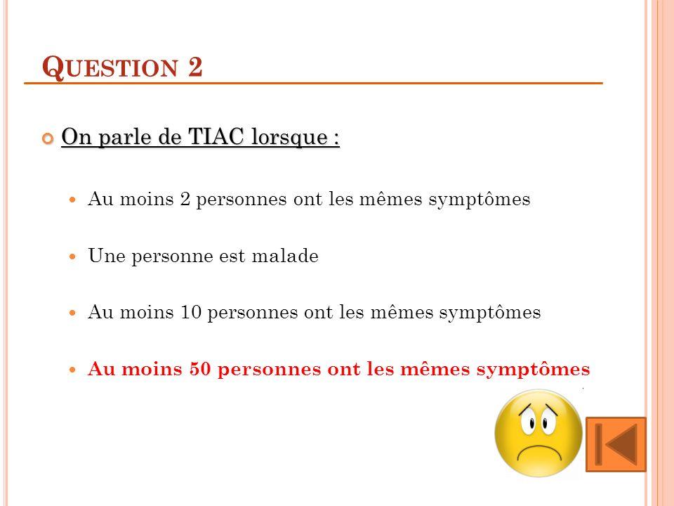 Q UESTION 2 On parle de TIAC lorsque : On parle de TIAC lorsque : Au moins 2 personnes ont les mêmes symptômes Une personne est malade Au moins 10 personnes ont les mêmes symptômes Au moins 50 personnes ont les mêmes symptômes
