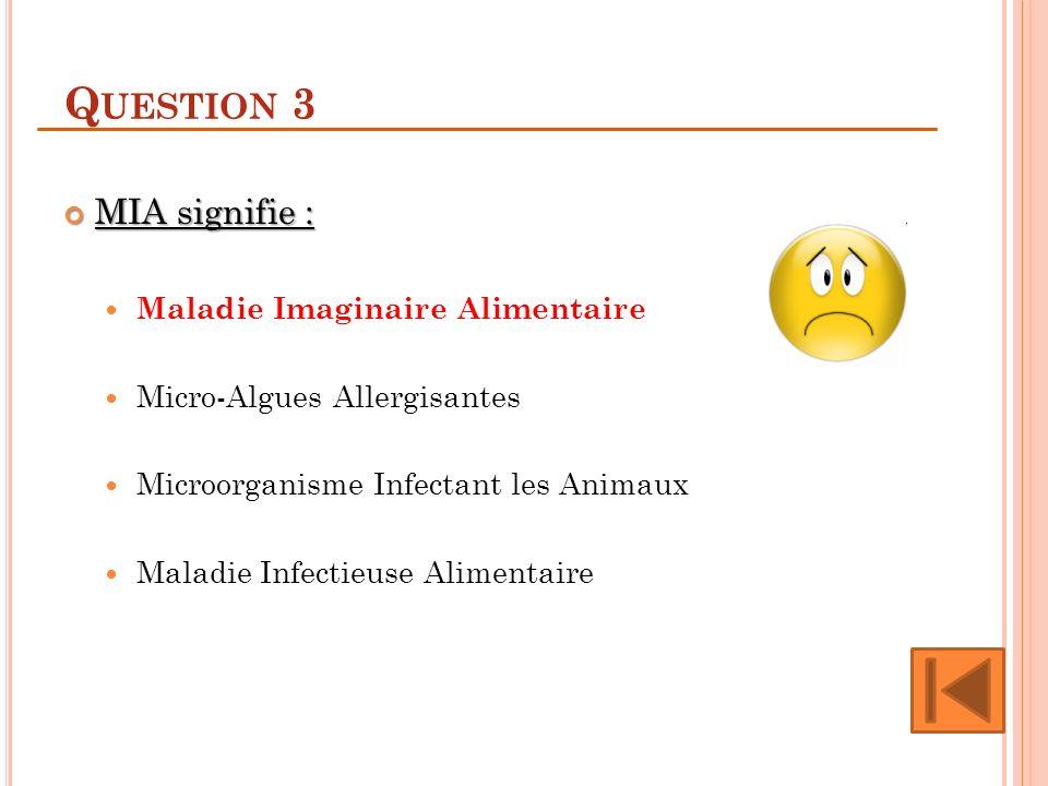 Q UESTION 3 MIA signifie : MIA signifie : Maladie Imaginaire Alimentaire Micro-Algues Allergisantes Microorganisme Infectant les Animaux Maladie Infectieuse Alimentaire
