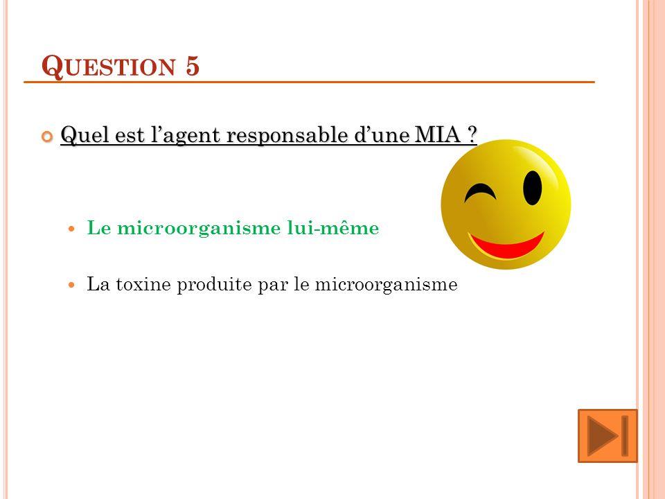 Q UESTION 5 Quel est lagent responsable dune MIA ? Quel est lagent responsable dune MIA ? Le microorganisme lui-même La toxine produite par le microor