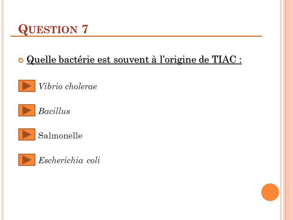 Q UESTION 7 Quelle bactérie est souvent à lorigine de TIAC : Quelle bactérie est souvent à lorigine de TIAC : Vibrio cholerae Bacillus Salmonelle Escherichia coli