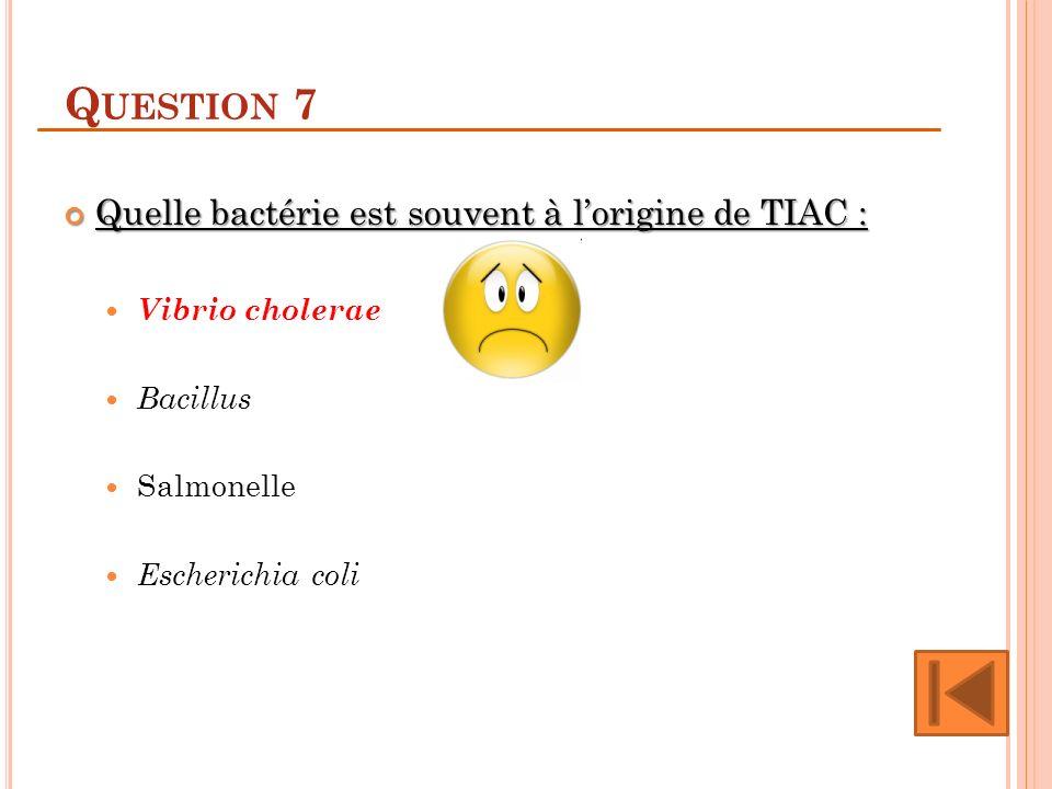 Q UESTION 7 Quelle bactérie est souvent à lorigine de TIAC : Quelle bactérie est souvent à lorigine de TIAC : Vibrio cholerae Bacillus Salmonelle Esch