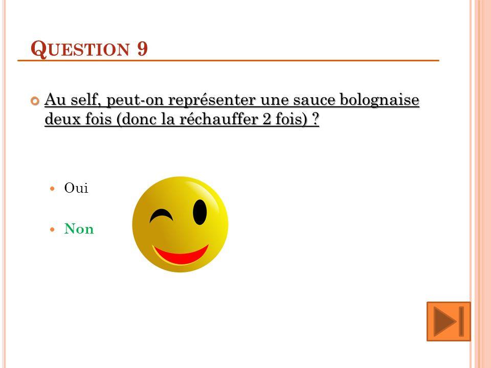 Q UESTION 9 Au self, peut-on représenter une sauce bolognaise deux fois (donc la réchauffer 2 fois) .