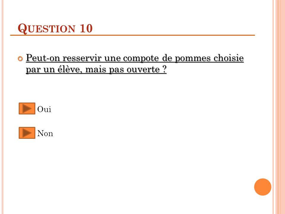 Q UESTION 10 Peut-on resservir une compote de pommes choisie par un élève, mais pas ouverte .