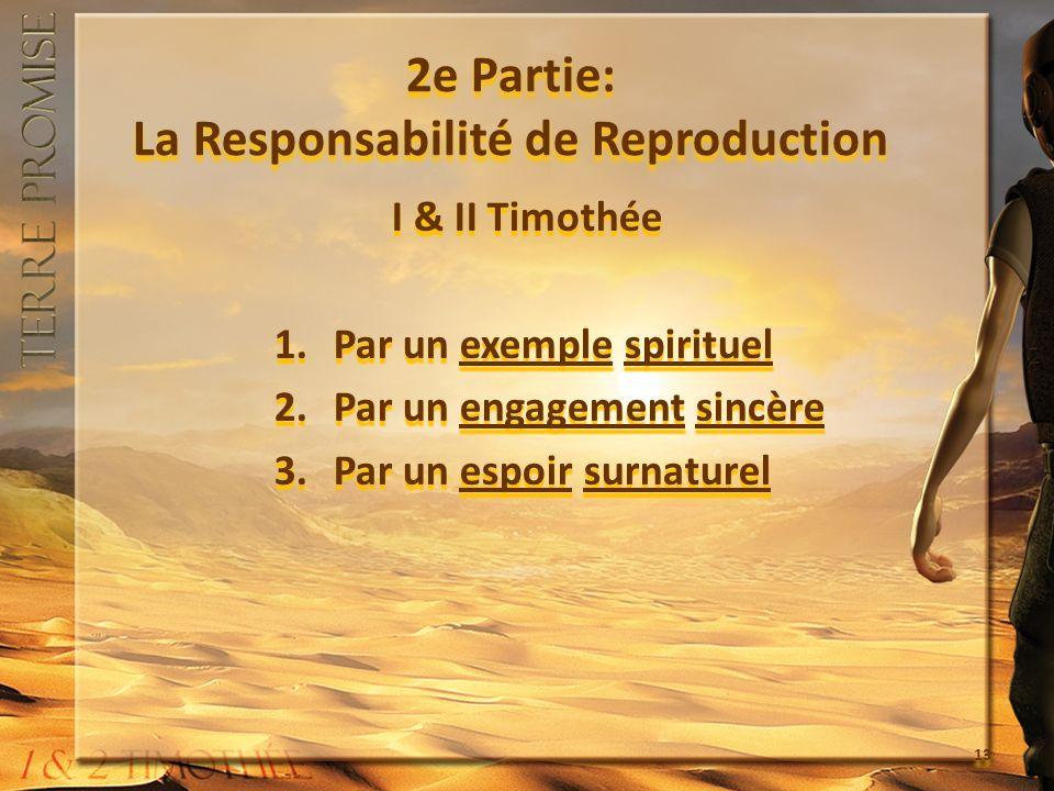 2e Partie: La Responsabilité de Reproduction I & II Timothée 1.Par un exemple spirituel 2.Par un engagement sincère 3.Par un espoir surnaturel I & II Timothée 1.Par un exemple spirituel 2.Par un engagement sincère 3.Par un espoir surnaturel 13