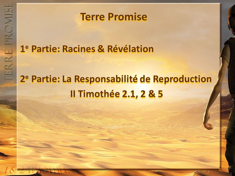 Terre Promise 1 e Partie: Racines & Révélation 2 e Partie: La Responsabilité de Reproduction II Timothée 2.1, 2 & 5 1 e Partie: Racines & Révélation 2 e Partie: La Responsabilité de Reproduction II Timothée 2.1, 2 & 5 5