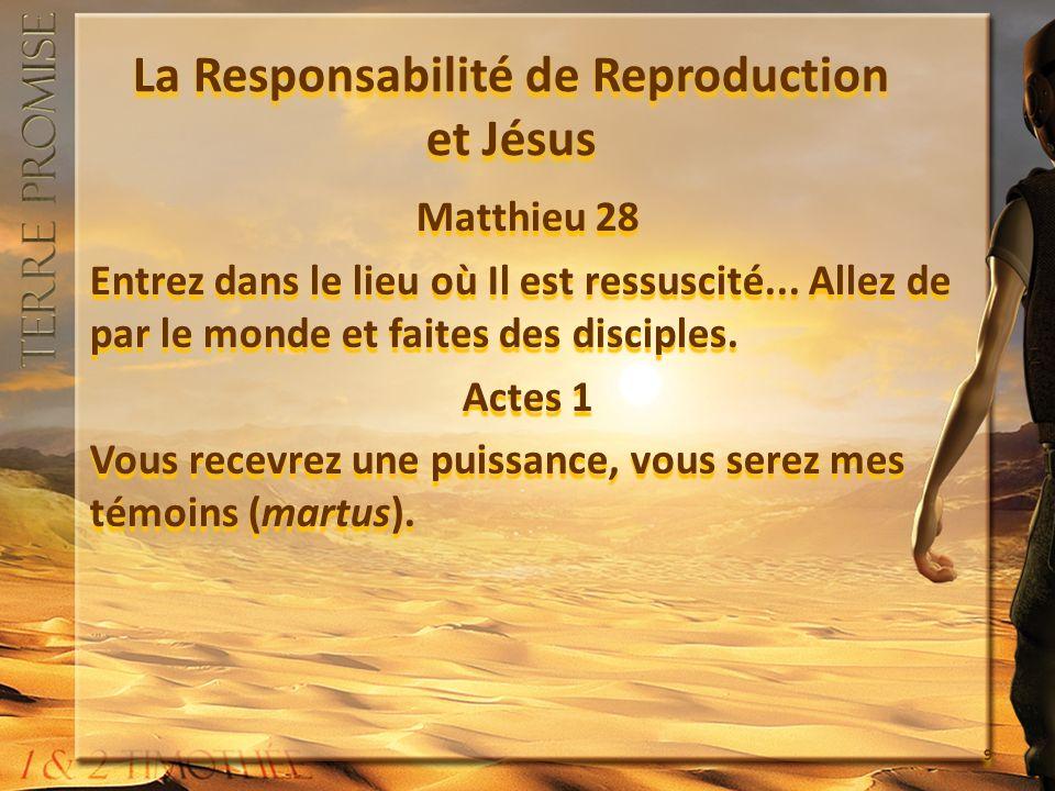 La Responsabilité de Reproduction et Jésus Matthieu 28 Entrez dans le lieu où Il est ressuscité... Allez de par le monde et faites des disciples. Acte