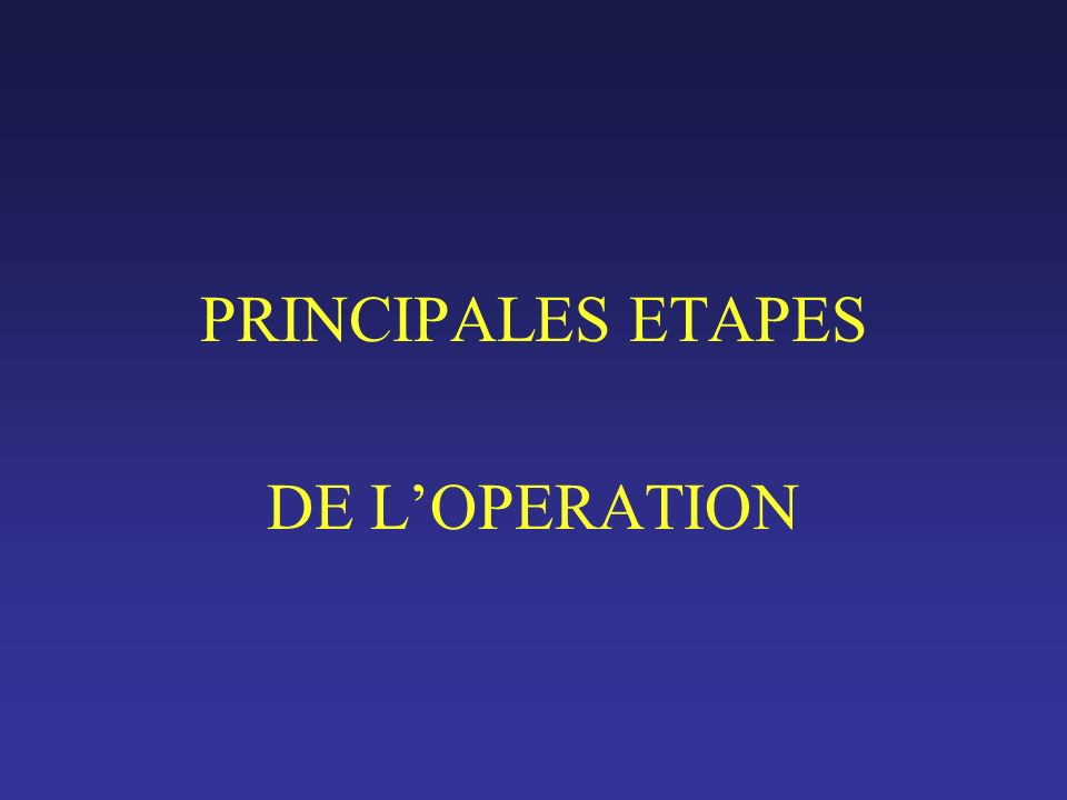 PRINCIPALES ETAPES DE LOPERATION