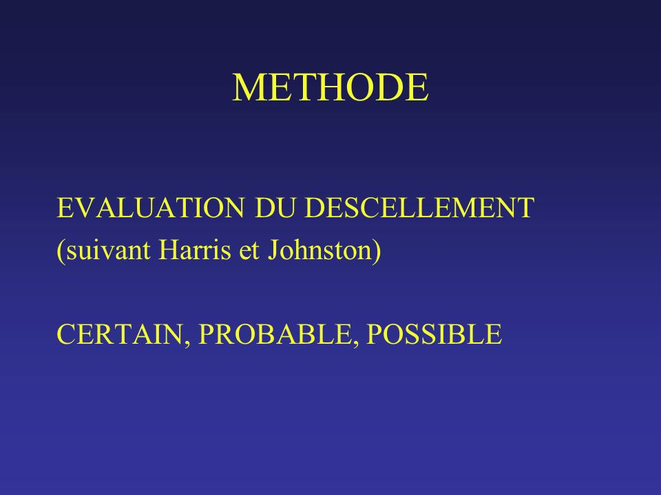 METHODE EVALUATION DU DESCELLEMENT (suivant Harris et Johnston) CERTAIN, PROBABLE, POSSIBLE