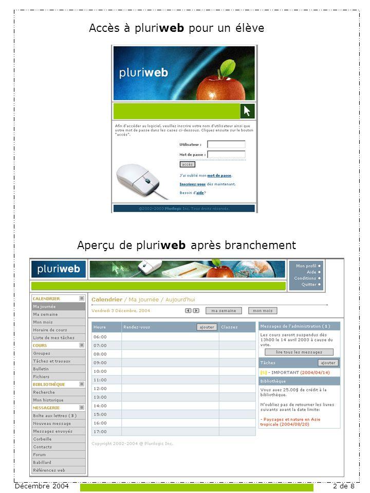 Décembre 20042 de 8 Accès à pluriweb pour un élève Aperçu de pluriweb après branchement