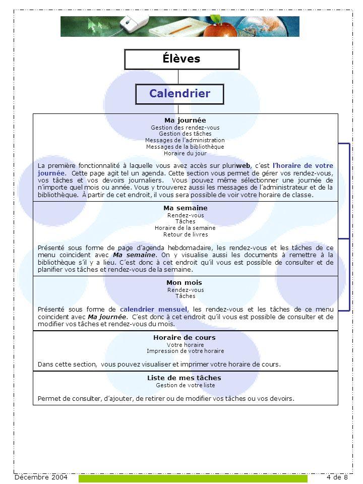 Décembre 20044 de 8 Ma journée Gestion des rendez-vous Gestion des tâches Messages de ladministration Messages de la bibliothèque Horaire du jour La première fonctionnalité à laquelle vous avez accès sur pluriweb, cest lhoraire de votre journée.