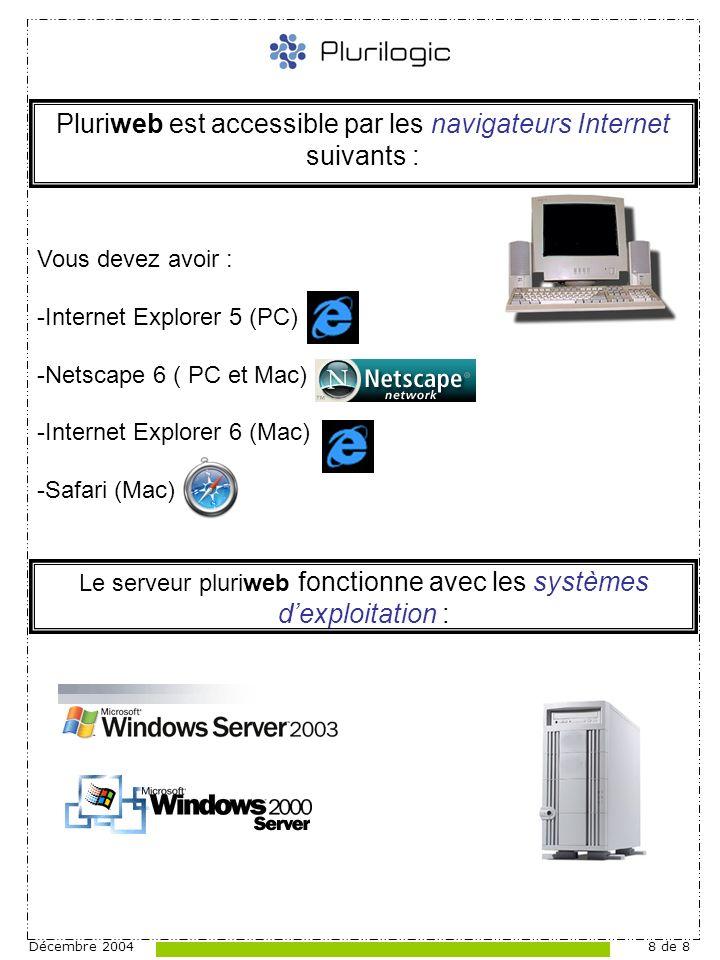 Décembre 20048 de 8 Pluriweb est accessible par les navigateurs Internet suivants : Le serveur pluriweb fonctionne avec les systèmes dexploitation : Vous devez avoir : -Internet Explorer 5 (PC) -Netscape 6 ( PC et Mac) -Internet Explorer 6 (Mac) -Safari (Mac)