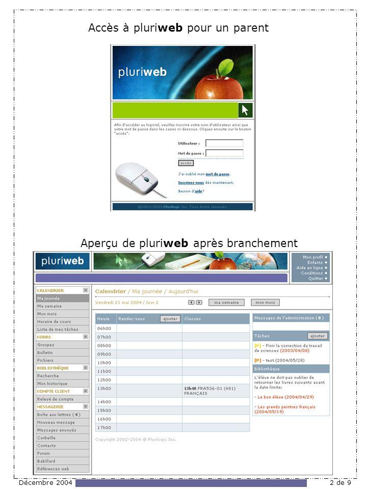Décembre 20042 de 9 Accès à pluriweb pour un parent Aperçu de pluriweb après branchement