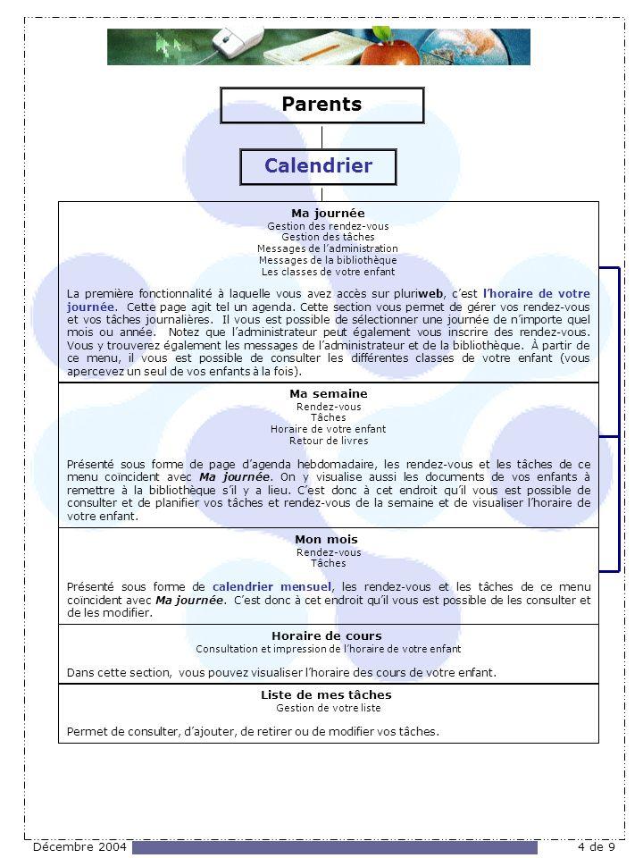 Décembre 20044 de 9 Ma journée Gestion des rendez-vous Gestion des tâches Messages de ladministration Messages de la bibliothèque Les classes de votre enfant La première fonctionnalité à laquelle vous avez accès sur pluriweb, cest lhoraire de votre journée.