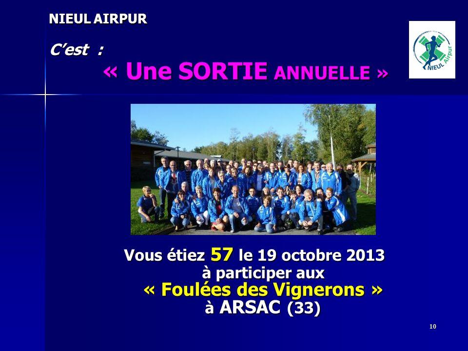 10 NIEUL AIRPUR Cest : « Une SORTIE ANNUELLE » Vous étiez 57 le 19 octobre 2013 à participer aux « Foulées des Vignerons » à ARSAC (33)