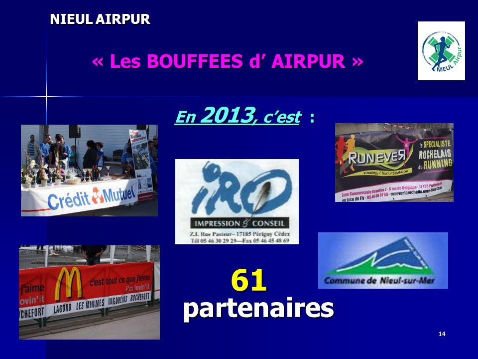 14 NIEUL AIRPUR « Les BOUFFEES d AIRPUR » En 2013, cest : 61 partenaires