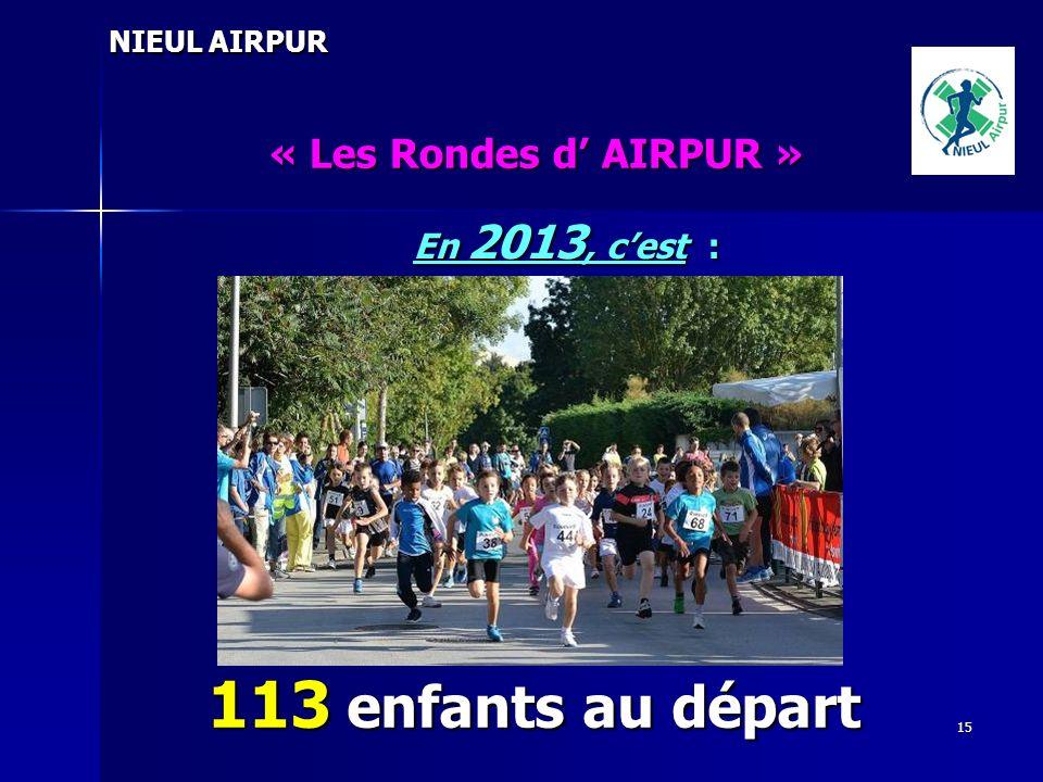 15 NIEUL AIRPUR « Les Rondes d AIRPUR » En 2013, cest : 113 enfants au départ
