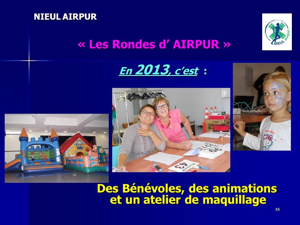 16 NIEUL AIRPUR « Les Rondes d AIRPUR » En 2013, cest : Des Bénévoles, des animations et un atelier de maquillage Des Bénévoles, des animations et un atelier de maquillage