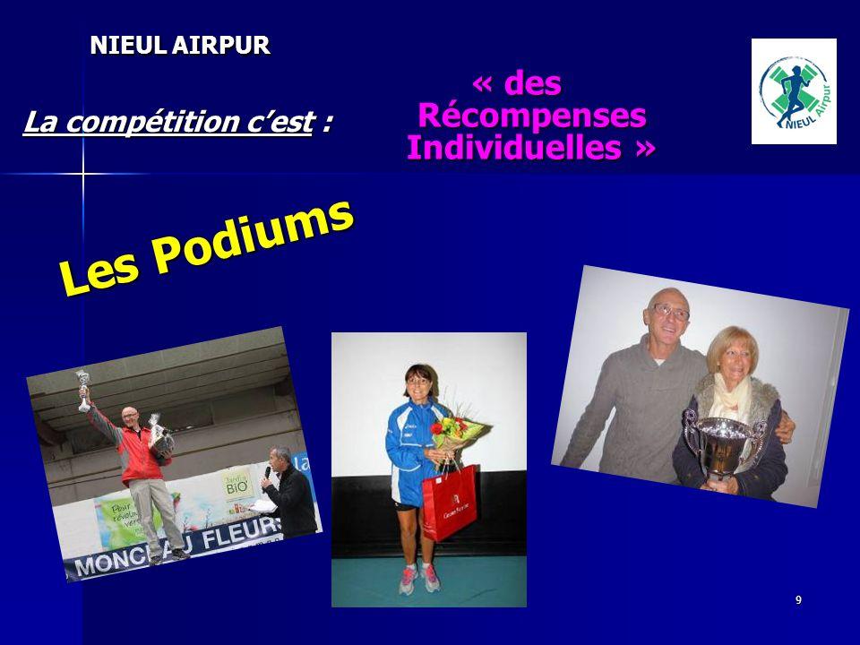 9 La compétition cest : NIEUL AIRPUR « des Récompenses Individuelles » Les Podiums Les Podiums