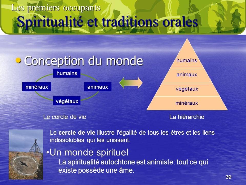 39 Conception du monde Conception du monde humains végétaux animauxminéraux humains végétaux animaux minéraux Un monde spirituel La spiritualité autoc