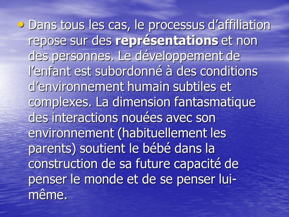 Dans tous les cas, le processus daffiliation repose sur des représentations et non des personnes. Le développement de lenfant est subordonné à des con