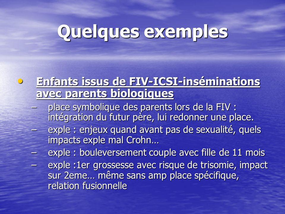 Quelques exemples Enfants issus de FIV-ICSI-inséminations avec parents biologiques Enfants issus de FIV-ICSI-inséminations avec parents biologiques –p