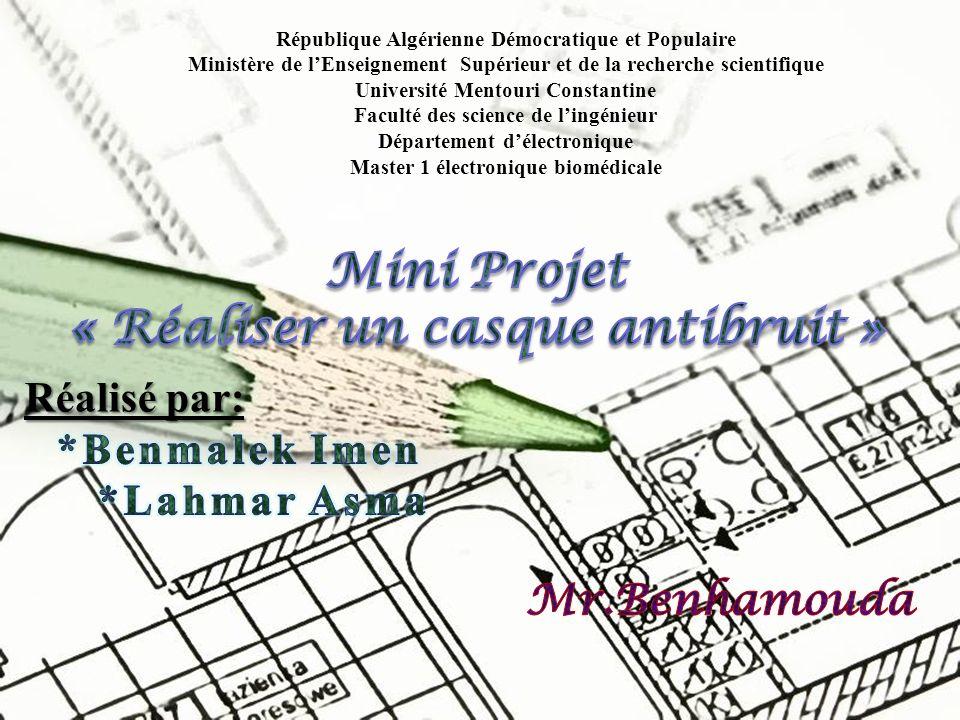 Page 1 République Algérienne Démocratique et Populaire Ministère de lEnseignement Supérieur et de la recherche scientifique Université Mentouri Consta