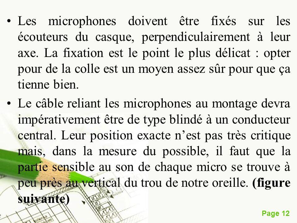 Page 12 Les microphones doivent être fixés sur les écouteurs du casque, perpendiculairement à leur axe. La fixation est le point le plus délicat : opt
