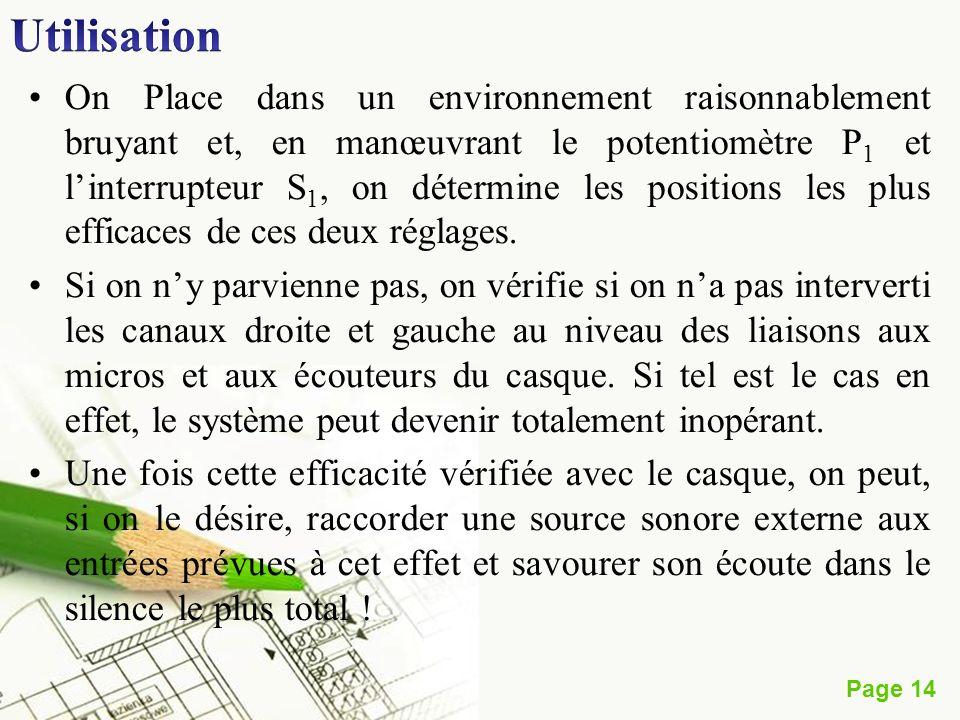 Page 14 On Place dans un environnement raisonnablement bruyant et, en manœuvrant le potentiomètre P 1 et linterrupteur S 1, on détermine les positions