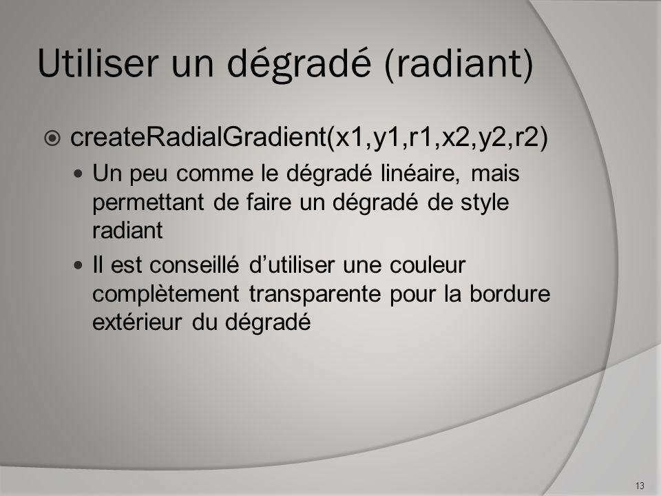 Utiliser un dégradé (radiant) createRadialGradient(x1,y1,r1,x2,y2,r2) Un peu comme le dégradé linéaire, mais permettant de faire un dégradé de style radiant Il est conseillé dutiliser une couleur complètement transparente pour la bordure extérieur du dégradé 13