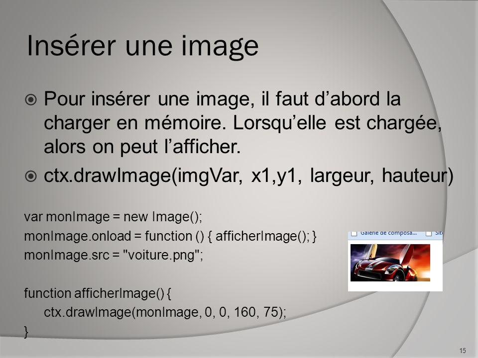 Insérer une image Pour insérer une image, il faut dabord la charger en mémoire.