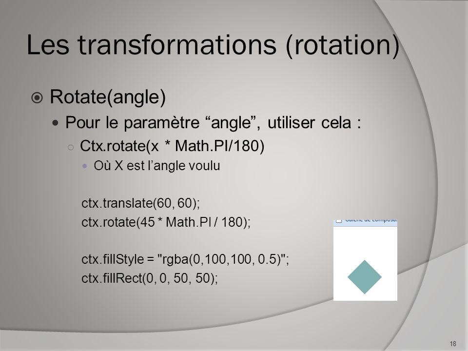 Les transformations (rotation) Rotate(angle) Pour le paramètre angle, utiliser cela : Ctx.rotate(x * Math.PI/180) Où X est langle voulu ctx.translate(60, 60); ctx.rotate(45 * Math.PI / 180); ctx.fillStyle = rgba(0,100,100, 0.5) ; ctx.fillRect(0, 0, 50, 50); 18