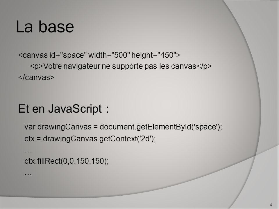 La base Votre navigateur ne supporte pas les canvas Et en JavaScript : var drawingCanvas = document.getElementById( space ); ctx = drawingCanvas.getContext( 2d ); … ctx.fillRect(0,0,150,150); … 4