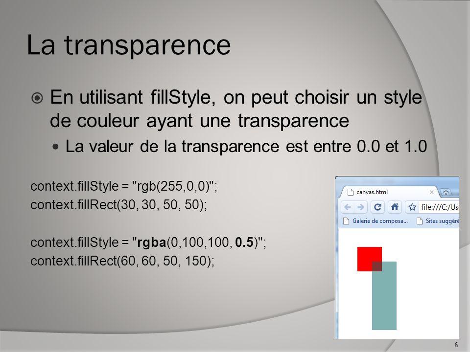 La transparence En utilisant fillStyle, on peut choisir un style de couleur ayant une transparence La valeur de la transparence est entre 0.0 et 1.0 context.fillStyle = rgb(255,0,0) ; context.fillRect(30, 30, 50, 50); context.fillStyle = rgba(0,100,100, 0.5) ; context.fillRect(60, 60, 50, 150); 6