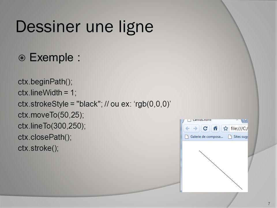 Dessiner une ligne Exemple : ctx.beginPath(); ctx.lineWidth = 1; ctx.strokeStyle = black ; // ou ex: rgb(0,0,0) ctx.moveTo(50,25); ctx.lineTo(300,250); ctx.closePath(); ctx.stroke(); 7