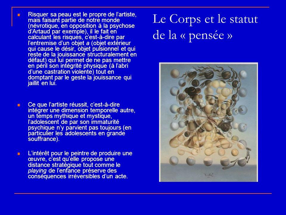 Le Corps et le statut de la « pensée » Risquer sa peau est le propre de lartiste, mais faisant partie de notre monde (névrotique, en opposition à la p