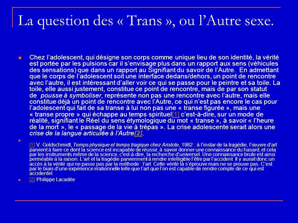 La question des « Trans », ou lAutre sexe. Chez ladolescent, qui désigne son corps comme unique lieu de son identité, la vérité est portée par les pul