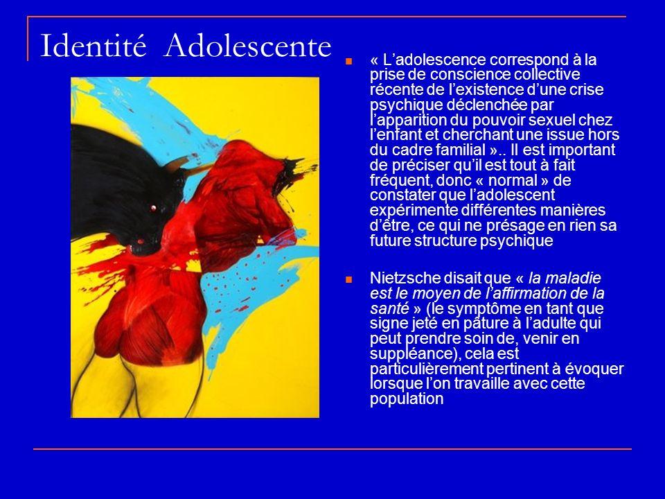 Identité Adolescente « Ladolescence correspond à la prise de conscience collective récente de lexistence dune crise psychique déclenchée par lappariti