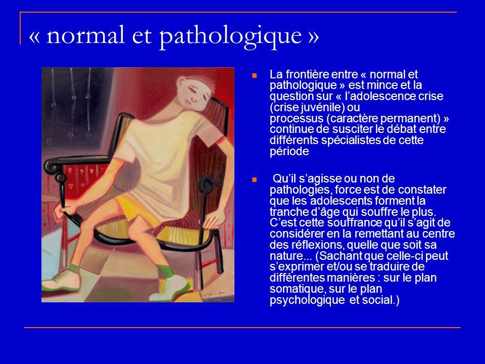 « normal et pathologique » La frontière entre « normal et pathologique » est mince et la question sur « ladolescence crise (crise juvénile) ou process