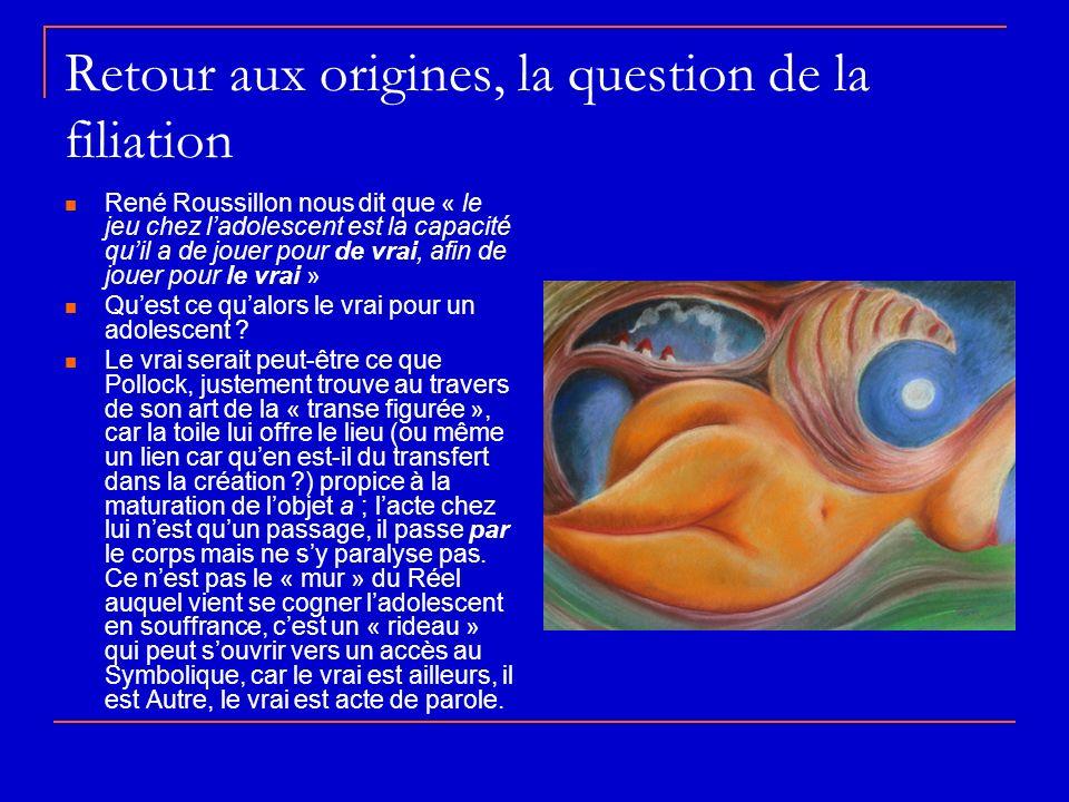 Retour aux origines, la question de la filiation René Roussillon nous dit que « le jeu chez ladolescent est la capacité quil a de jouer pour de vrai, afin de jouer pour le vrai » Quest ce qualors le vrai pour un adolescent .