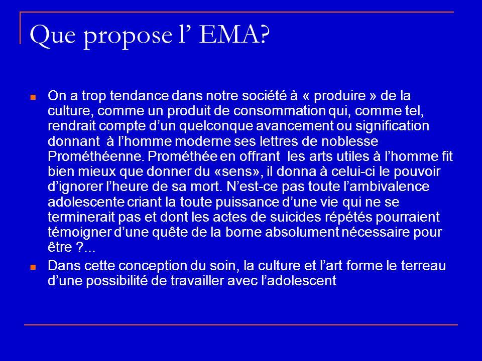 Que propose l EMA? On a trop tendance dans notre société à « produire » de la culture, comme un produit de consommation qui, comme tel, rendrait compt