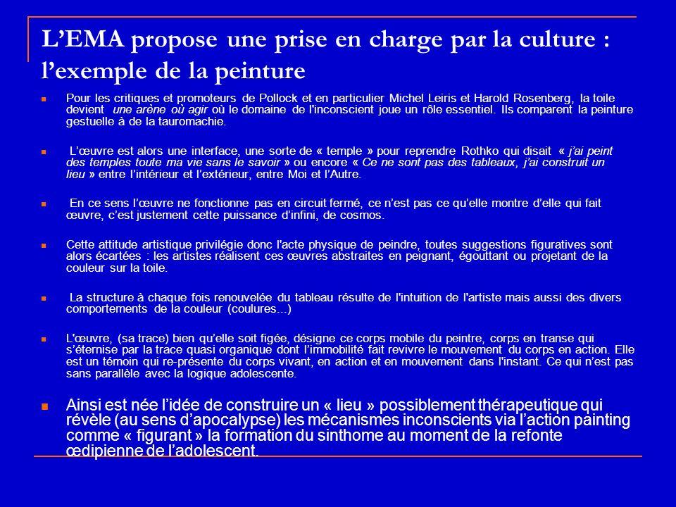 LEMA propose une prise en charge par la culture : lexemple de la peinture Pour les critiques et promoteurs de Pollock et en particulier Michel Leiris
