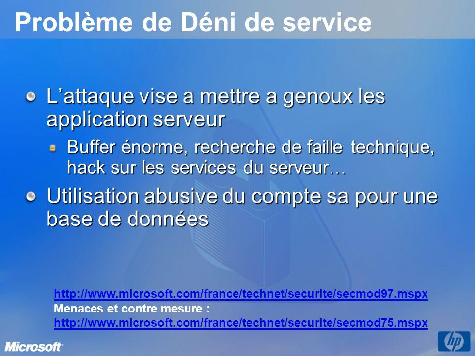 Problème de Déni de service Lattaque vise a mettre a genoux les application serveur Buffer énorme, recherche de faille technique, hack sur les services du serveur… Utilisation abusive du compte sa pour une base de données http://www.microsoft.com/france/technet/securite/secmod97.mspx Menaces et contre mesure : http://www.microsoft.com/france/technet/securite/secmod75.mspx