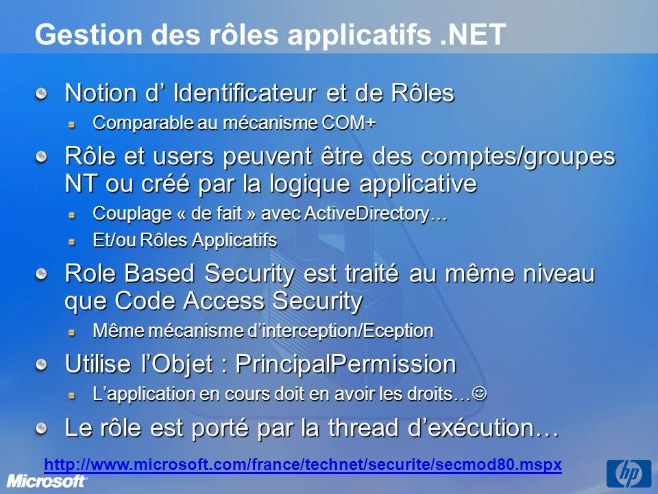 Gestion des rôles applicatifs.NET Notion d Identificateur et de Rôles Comparable au mécanisme COM+ Rôle et users peuvent être des comptes/groupes NT ou créé par la logique applicative Couplage « de fait » avec ActiveDirectory… Et/ou Rôles Applicatifs Role Based Security est traité au même niveau que Code Access Security Même mécanisme dinterception/Eception Utilise lObjet : PrincipalPermission Lapplication en cours doit en avoir les droits… Lapplication en cours doit en avoir les droits… Le rôle est porté par la thread dexécution… http://www.microsoft.com/france/technet/securite/secmod80.mspx