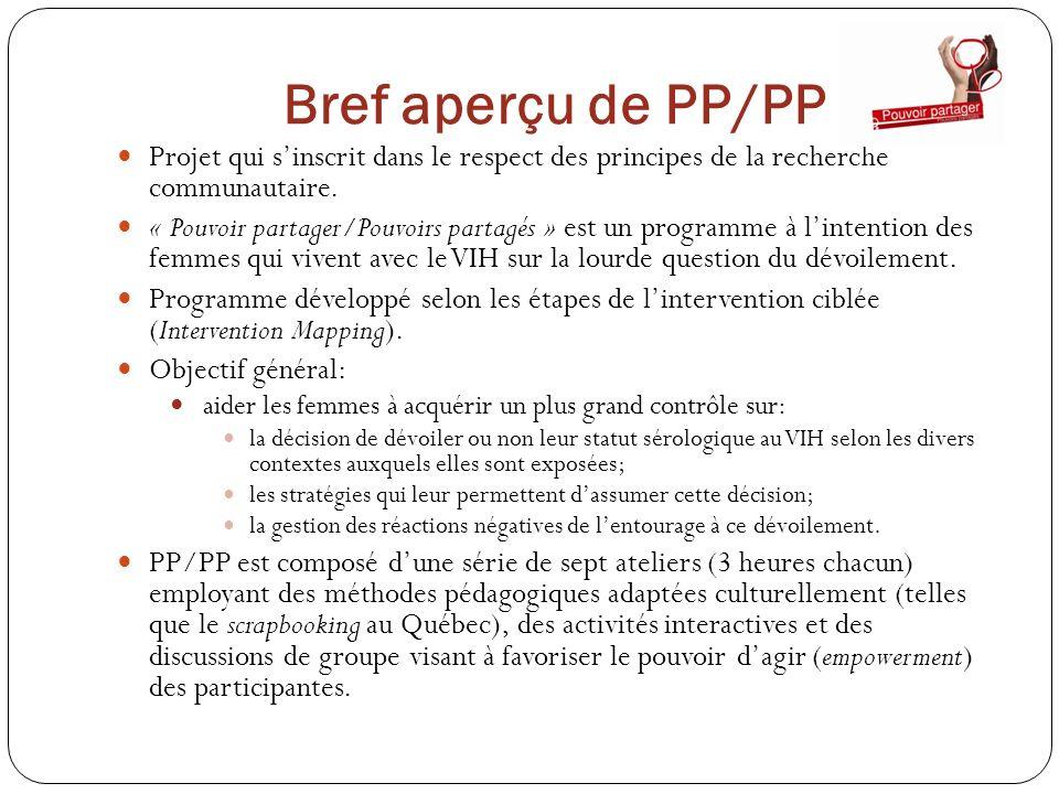Bref aperçu de PP/PP Projet qui sinscrit dans le respect des principes de la recherche communautaire. « Pouvoir partager/Pouvoirs partagés » est un pr