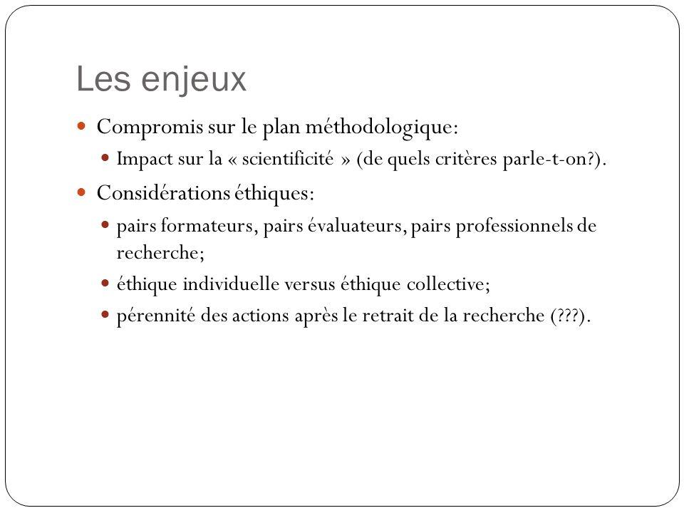 Les enjeux Compromis sur le plan méthodologique: Impact sur la « scientificité » (de quels critères parle-t-on?). Considérations éthiques: pairs forma