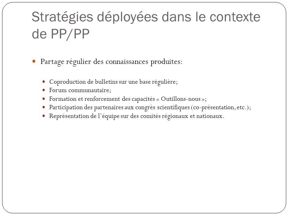 Stratégies déployées dans le contexte de PP/PP Partage régulier des connaissances produites: Coproduction de bulletins sur une base régulière; Forum c